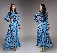 Платье Элегантная бабочка макси голубое