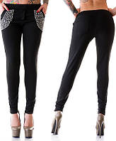 Женские черные трикотажные брюки зауженные