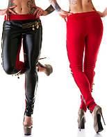 Женские лосины с кожаными вставками черно-красные