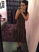 Трикотажный женский сарафан с пышной юбкой