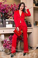 Элегантный брючный женский костюм верх приталенный пиджак с отложным воротником низ брюки-клеш коттон мемори
