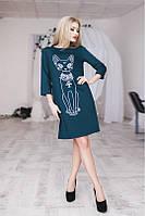 Женское синее платье трапеция с рисунком (кошка)
