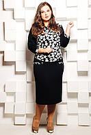 Прямое черное платье средней длины - комбинация однотонной и набивной ткани с мелким белыми цветами, 54-62 раз