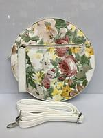 Женская сумка клатч Diana&Co 1421 круглая с цветочным принтом