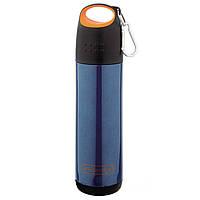Термос 500мл из нержавеющей стали (оранжево-черная крышка, синий корпус)