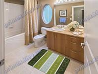 Коврик для ванной, 60х100см. геометрические фигуры, зеленый