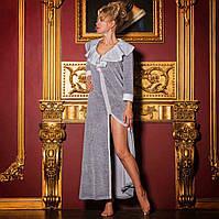Халат женский велюровый длинный MARISTELLA серый XL. Все размеры.