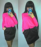 """Свободное платье с карманами """"два цвета"""""""