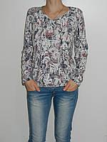Трикотажная блузка большие размеры 52,54,56,58 светлая Elegance 1602 Турция