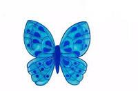 Коврик для детей в ванную  Бабочка синяя