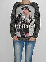 Модный реглан с принтом и стразами черный Shewky 3050 Турция  рр. L/XL