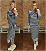 Женское вязанное платье в полоску с орнаментом Размер универсал 42-46 AB 0370-37