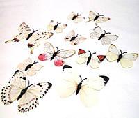 Декоративные бабочки на магните и липучке 12шт белые