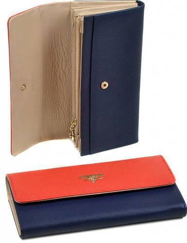 Прекрасный кошелек FiJi женский кожа Bretton WF-22 orange-blue