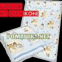 Одеяло детское 140х100 см на силиконе в детскую кроватку, кровать, верх хлопок 017 Голубой