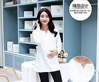 Удлинённая белая рубашка для беременных и кормящих