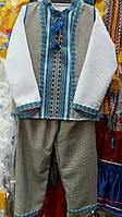 """Детский костюм для мальчика """"Вышиванка"""" тройка (синий)"""