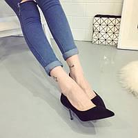 Замшевые туфли на маленьком каблучке, 3 цвета