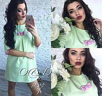 Платье для беременных Молодёжное с малиновым бантиком цвет мята БАТАЛ