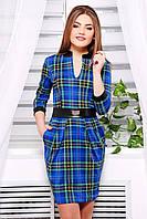 Женское синее платье в клетку в деловом стиле