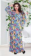 Батальное женское платье с капюшоном