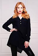 Платье Рубашка из Креп Шифона с Накладными Карманами  Темно-Синий S-XL
