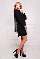 Платье с Бахромой с Глубоким Вырезом на Спине Черное S-XL