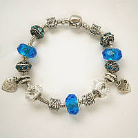 Женский голубой браслет Pandora (Пандора) с 2 сердечками