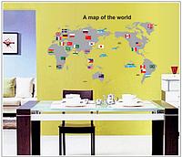 """Наклейка на стену, украшения стены наклейки в офис, в детскую, в школу """"карта мира"""" (лист 50*70см)"""