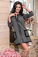 Модная трикотажная женская туника свободного кроя со вставками экокожи рукав три четверти