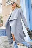Асимметричное кашемировое женское пальто на запах с объемным шалевым воротником