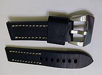 Ремешок к часам Banda, кожаный, матовый, анти-аллергенный, цвет черный с белой прострочкой