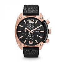 Мужские часы Дизель хронограф кварцевые золотой круглый корпус черный ремешок и циферблат мерная шкала
