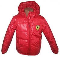 """Детская куртка демисезонная для мальчика """"Феррари"""" красный"""