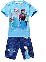 Детский Комплект Frozen (футболка и джинсовые шорты) от 90см до 110см