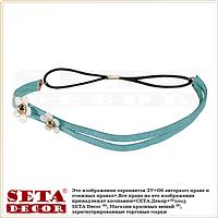 Повязка-резинка Лето голубая с цветочками на голову для причёски в греческом стиле (для волос)