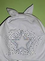 Шапка на завязках для девочки/Шапка на зав'язках для дівчинки HANECZKA ТМ BROEL (Польша) Размеры: 45,47,49