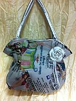 Подростково-детская сумка серая с рисунком