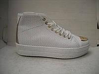 Женские ботиночки на шнуровке с перфорацией белые и черные