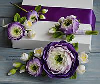 """Свадебный комплект """"Эльза"""" в фиолетом цвете (зажим, 2 шпильки и бутоньерка)"""