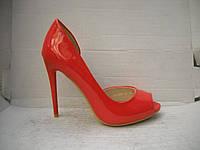 Женские классические туфли-лодочки с открытым носом красный бежевый и голубой лак