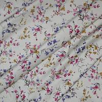 Декор сатен олиса цветы мелкие фон св. молочный, сиреневый