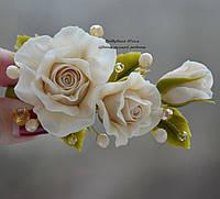 Роза айвори с хрусталем  (заколка-зажим)