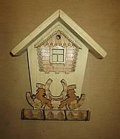 Ключница с подковой открытая на 4 ключа Дом