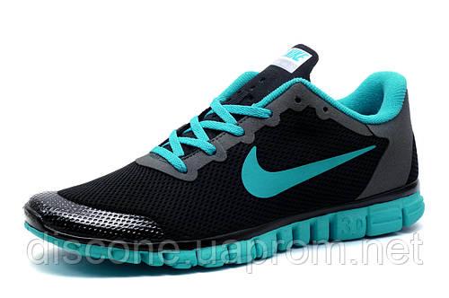 Кроссовки мужские Nike Free Run 3.0 сетка текстиль, черные, р. 44