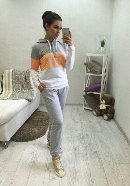 Купить серый женский спортивный костюм