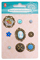 Набор украшений металлических брадсы Голубые камеи 9 шт 952587