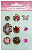 Набор украшений металлических брадсы Розовые камеи 9 шт 952588