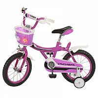 Детский двухколесный велосипед для девочки Profi с корзиной, страховочными  колесиками (фиолетовый)