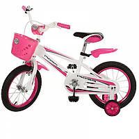 """Детский велосипед 14"""" Profi для девочки с большой корзиной и страховочными колесами для девочек (розовый)"""